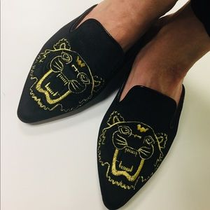 Shoes - Black Flat Mules Velvet Pointy Toe Slides Lion